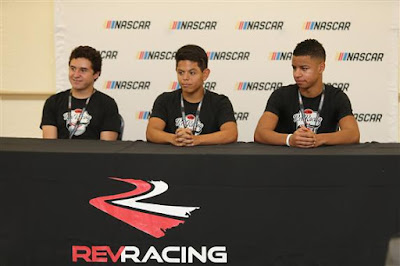 2017 NASCAR Drive for Diversity participants Fabian Welter (l),  Ryan Vargas (c) and Armani Williams at Bethune Cookman University