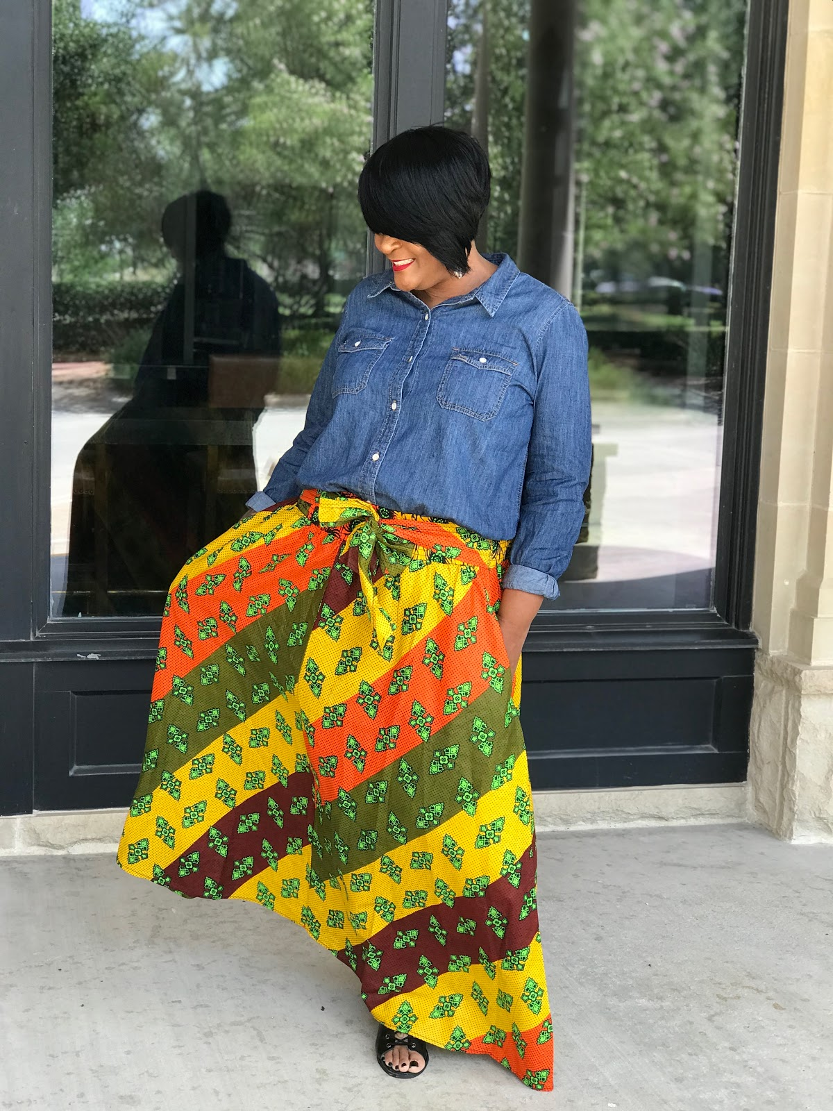 Image: Woman Showing Off Her New Ankara Skirt By Tangie Bell