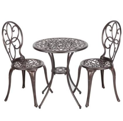 Well Traveled Living Antique Bronze Cast Aluminum Three Piece Bistro Set