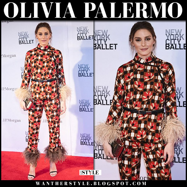 Olivia Palermo in red and brown printed feather trimmed pants and top from prada at NYC Ballet Gala red carpet style