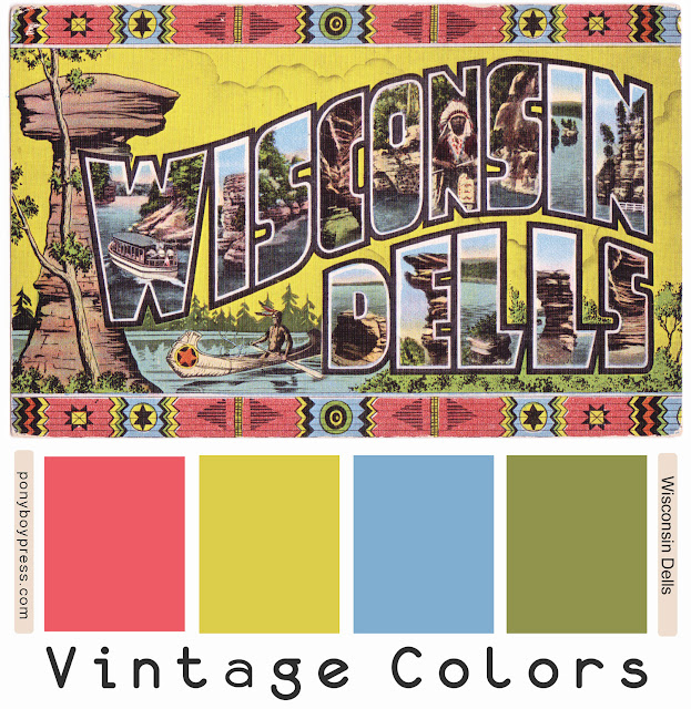 Vintage Color Palettes - Wisconsin Dells - find hex codes on the blog