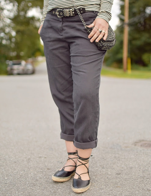 Slouchy boyfriend trousers, Zara lace-up flats, chainmail cross-body bag