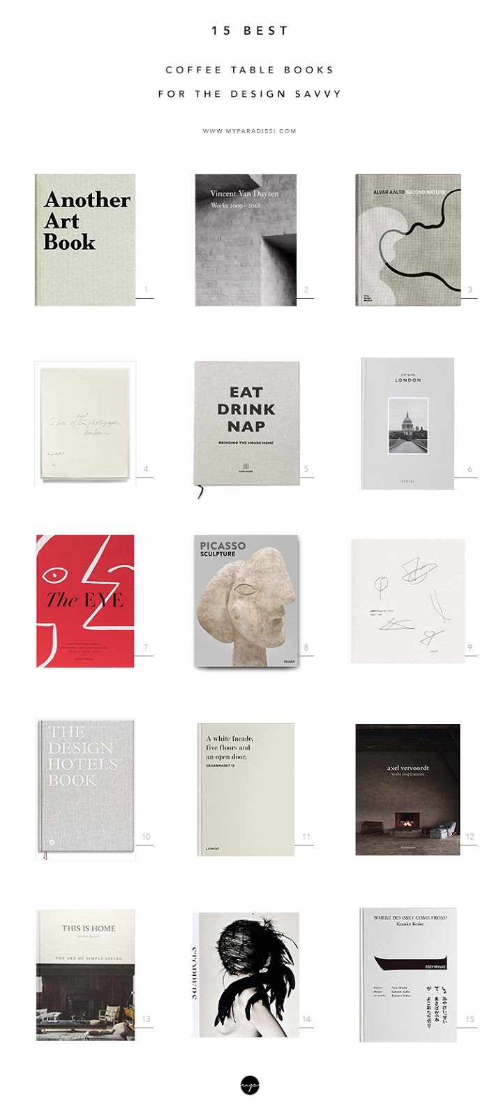 Best coffee table books for the design savvy, interior design books, fashion books, books with beautiful cover, art books, minimalist book cover design, contemporary design books, wabi sabi books. Gift ideas for the design lover. Book list curated by Eleni Psyllaki for My Paradissi