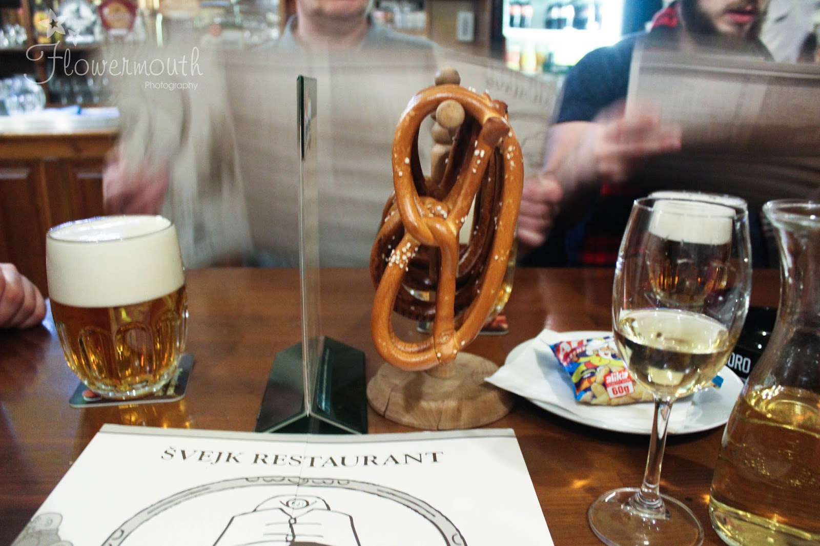 Pretzels and wine in prague