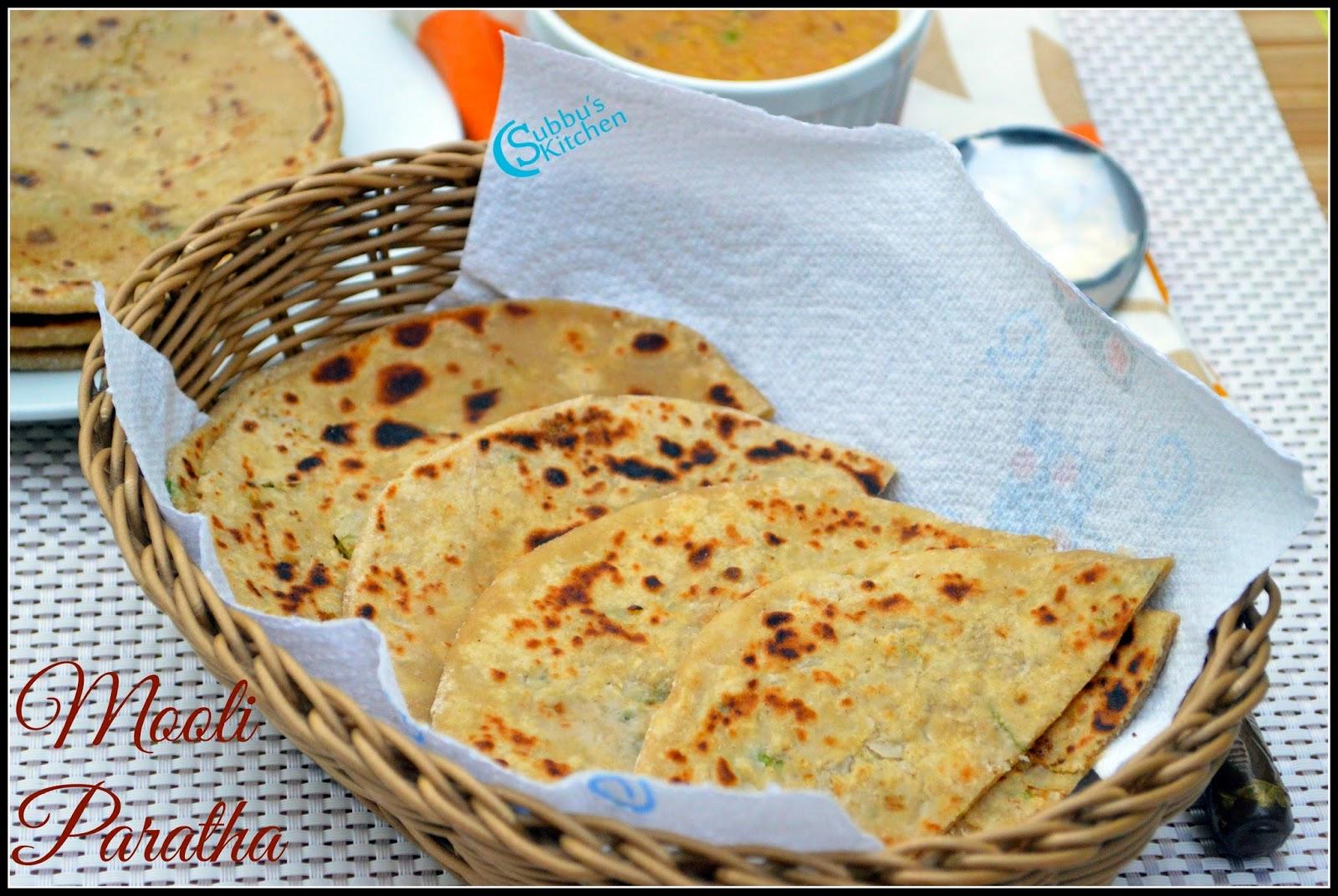Mooli Paratha Recipe   Radish Paratha Recipe   Subbus Kitchen