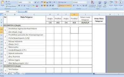Contoh Aplikasi Excel Rapor / LHB Kurikulum 2013 SMK
