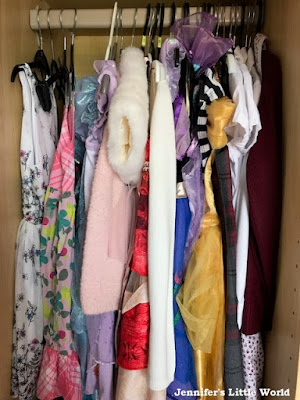 Dresses hanging in the wardrobe