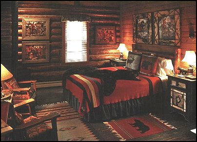 Cabin scene with a country lodge feel  log cabin - rustic style decorating - Cabin decor - bear decor - camping in the northwoods style  - Antler decor - log cabin boys theme bedroom - Cabin Bedding - Rustic Bedding - rustic furniture - cedar beds - log beds - LOG CABIN DECORATING IDEAS - Swiss chalet ski lodge murals - camping room decor