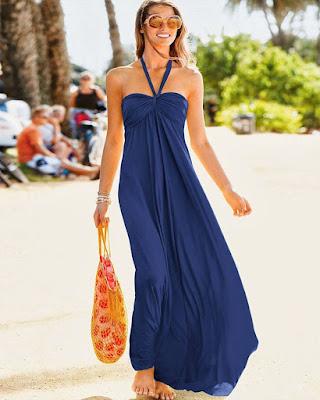 vestido azul de playa casual de catalogo