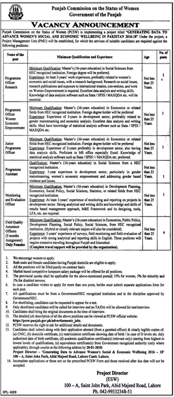 New Vacancies Announcement in Punjab Commission On The Status Of Women Advertisement 13 jan 2018