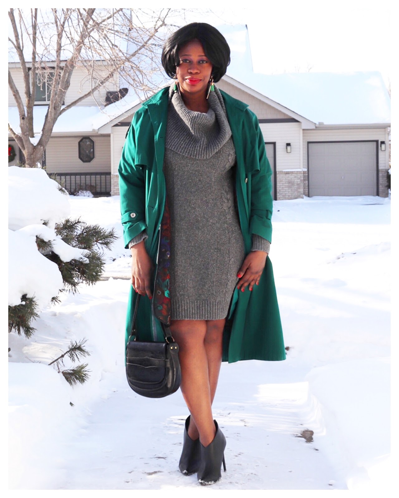 Beauty's Fashion Zone: Grey Sweater Dress + Green Trench Coat