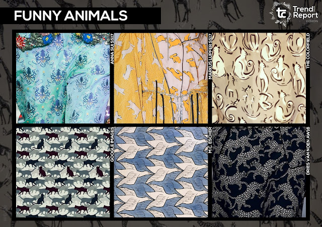 Textile design, print design, textile candy, trend forecasting, trend prediction, WGSN, premiere vision, printed fashion, fashion print, AW17-18, Autumn/Winter fashion trends, trend report, tc, funny animals, animal conversationals, animal pattern, cat print, cat design, M.C. Escher, Anna Sui SS17, The colorfield, Markus Lupfer SS17, Dries Van Noten AW16