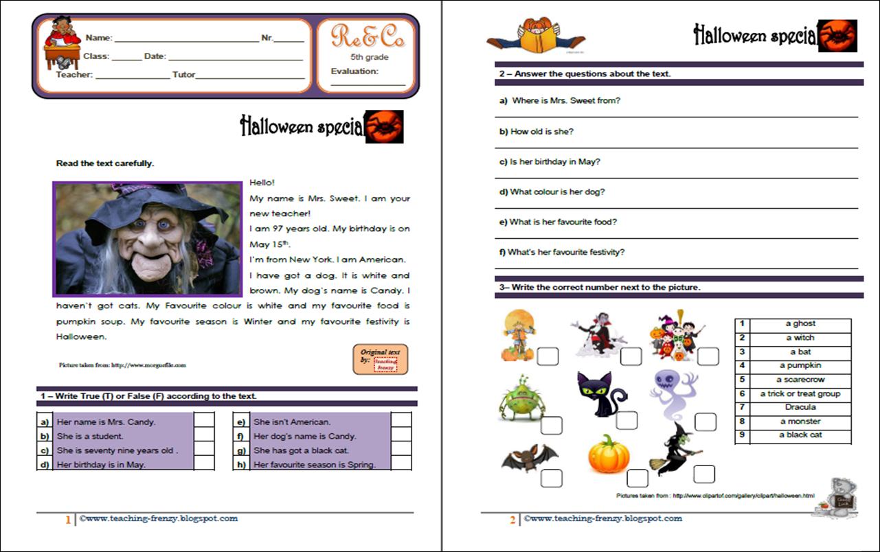 English Teaching Halloween Activity 1 Reinforcement
