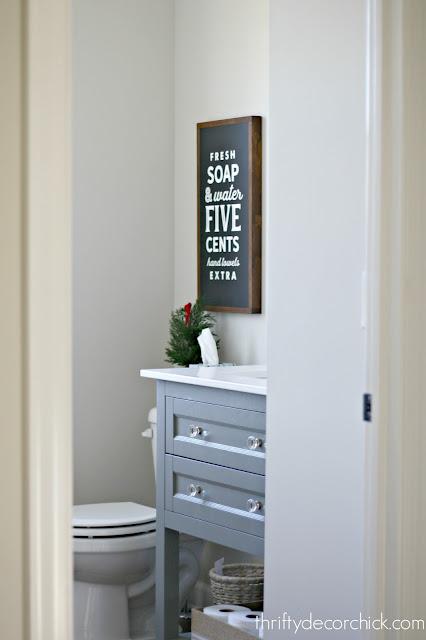 light gray open vanity bathroom