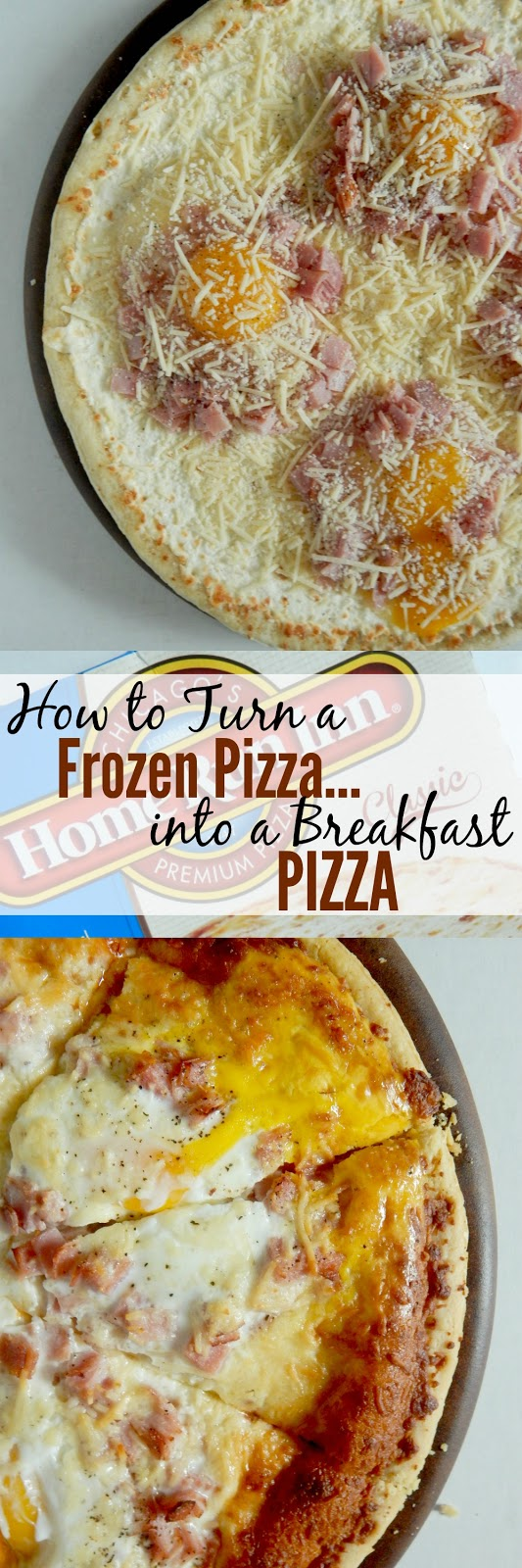 How to Turn a Frozen Pizza...Into a Breakfast Pizza...a few add-on's and this plain cheese pizza turns into a breakfast pizza! (sweetandsavoryfood.com)