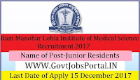 New Delhi Dr. Ram Manohar Lohia Hospital Recruitment 2017– Junior Residents