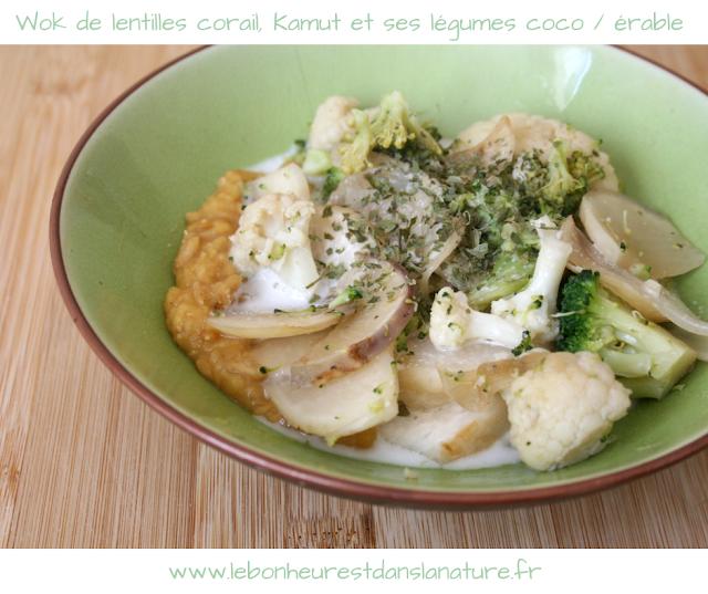 Wok de lentilles corail, Kamut et ses légumes coco sirop d'érable [recette vegan]