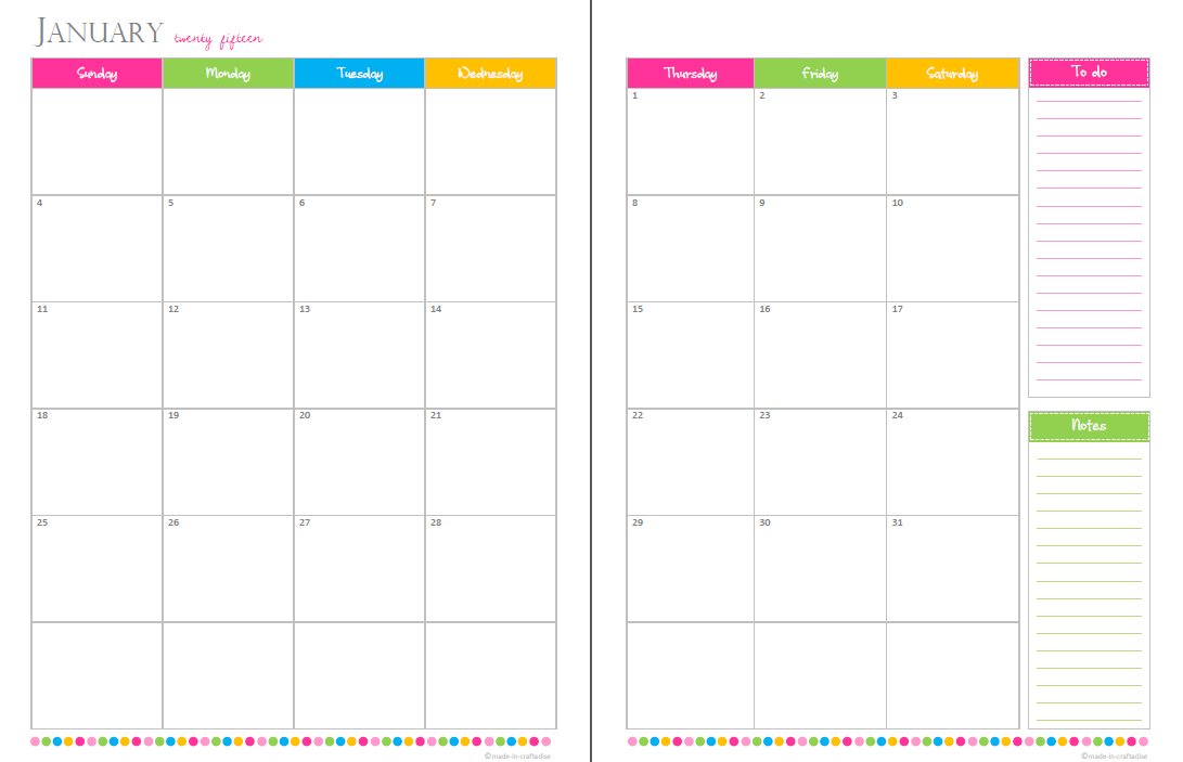 Blank Calendar With Room To Write : Calendar printable w space to write autos post