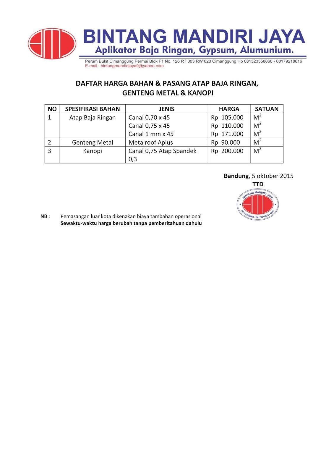 Harga Bahan Baja Ringan Bandung Cv Bintang Mandiri Jaya Daftar Dan Pemasangan