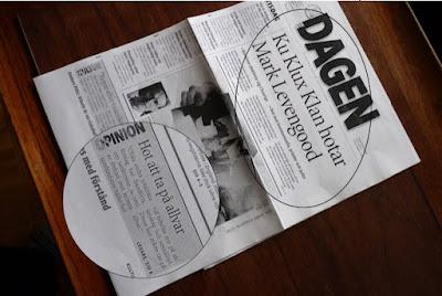 Foto av framsida av tidningen Dagen, en artikelpuff och en ledartextpuff inringade och förstorade
