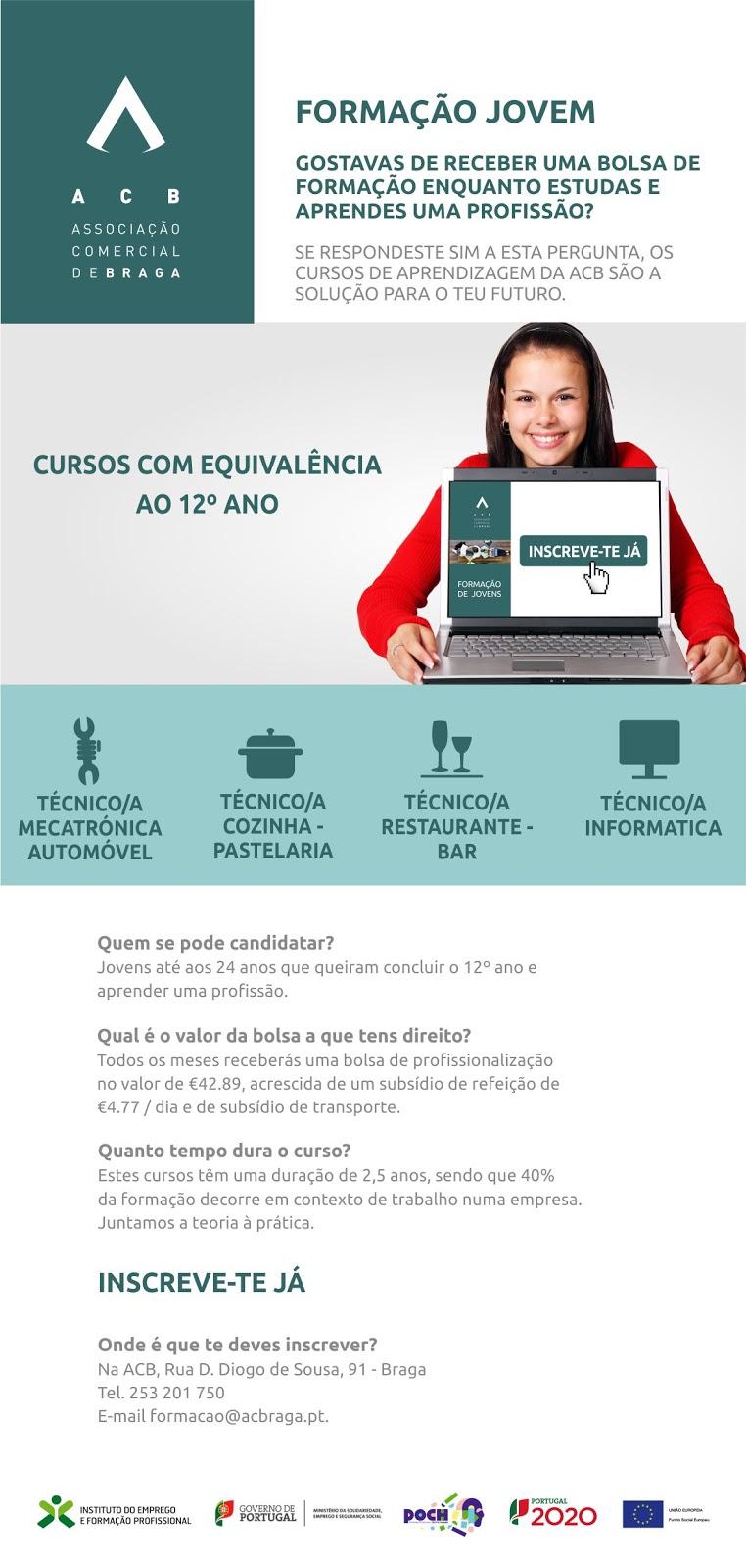 Cursos financiados para jovens em Braga