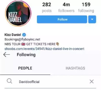 Kizz Daniel Unfollows Davido on IG, After Davido Slapped His Manager