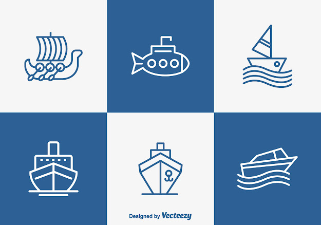 Free Outlined Boat And Ship Vector Icons