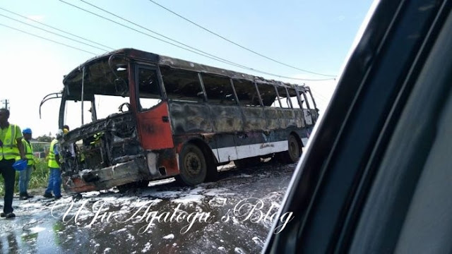 Bus fully loaded with Deeper Life members catches fire in Lagos (PHOTOS)