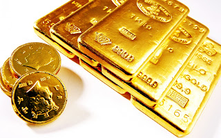Gold Bars and Coins Stock Photo White Background