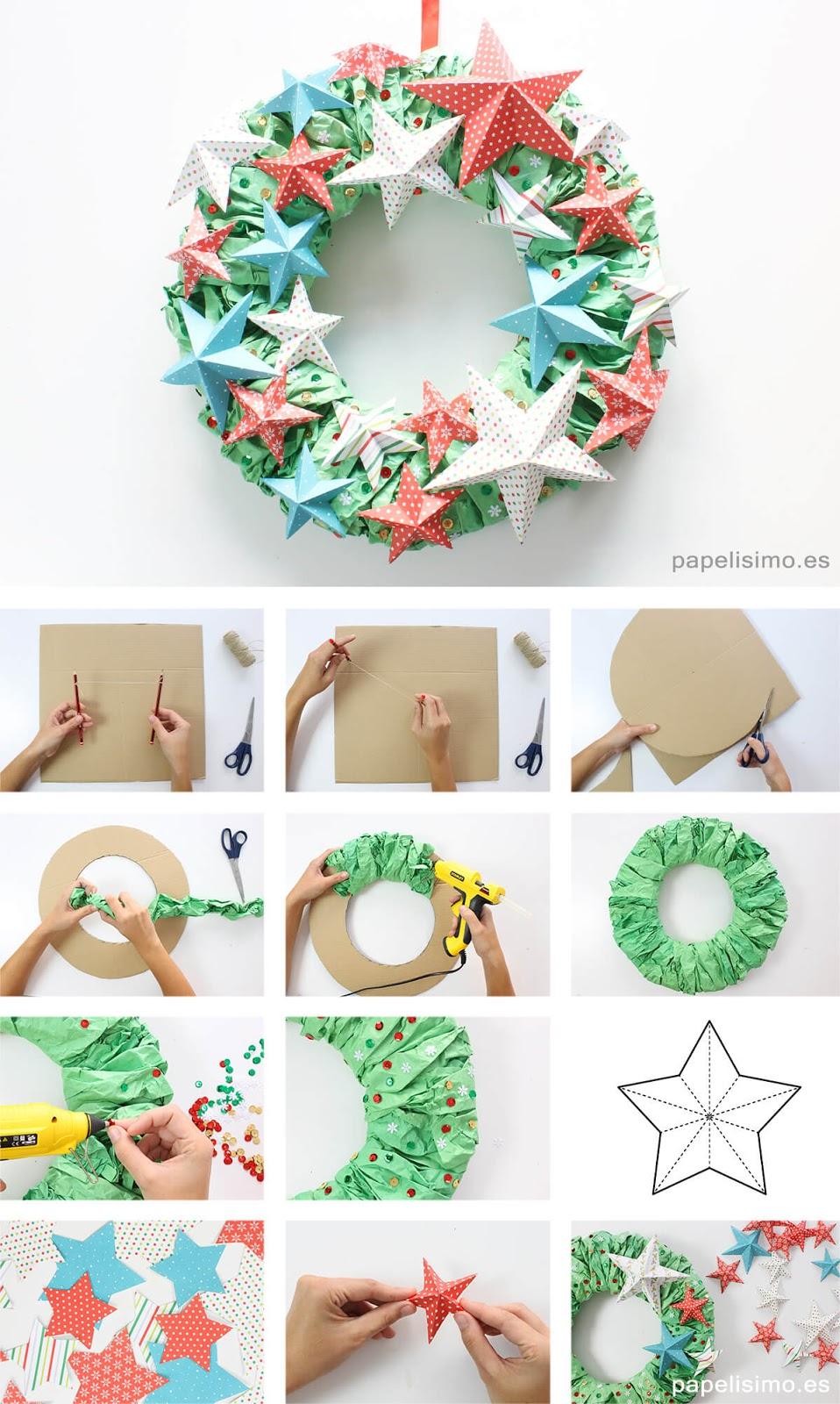 Guirlanda de Natal feita com papel de scrapbooking