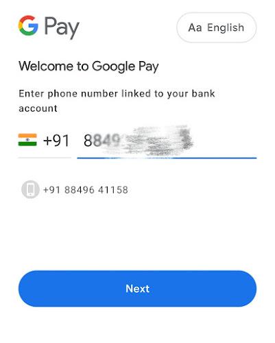 Google Pay enter phone number
