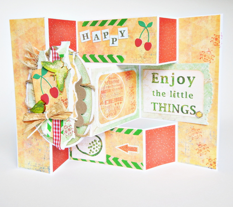 Kartka handmade z owocoami typu tri fold