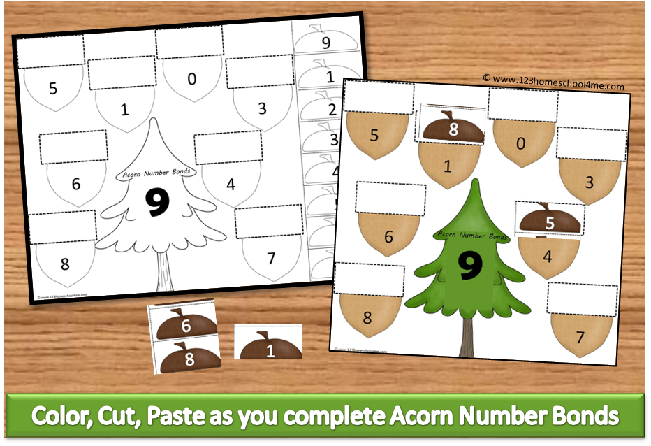 FREE Acorn Cut Paste Math Worksheets – Cut and Paste Worksheets