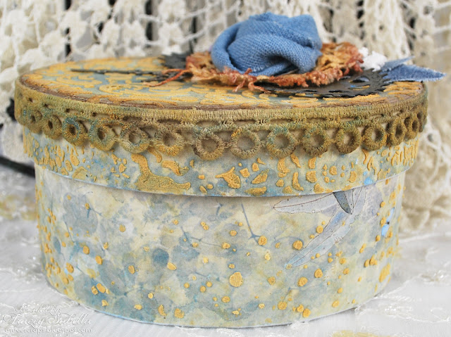Girlie Grunge Trinket Box by Tracey Sabella for Donna Salazar Designs - Scrapbook Adhesives by 3L, Spellbinders Sprightly Sprockets, Mixed Media, Home Decor, Handcrafted Flower, Video Tutorial