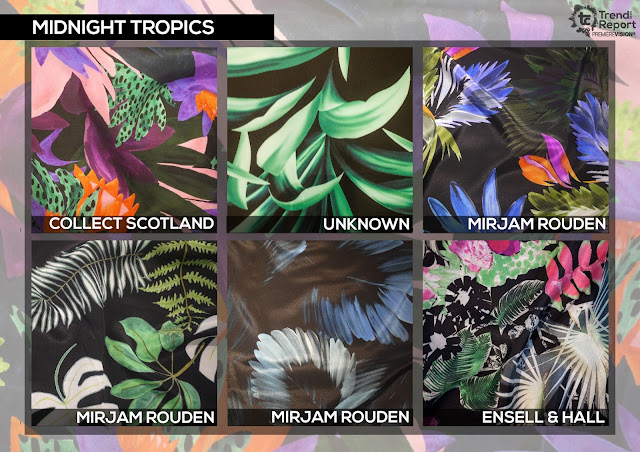 Textile Candy, midnight tropics, tropical print, Collect Scotland, Mirjam Rouden, Ensell and Hall, Premiere vision, trend report, trend forecasting, Spring/Summer 2018, SS18