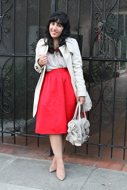 F21 Floral Top and Express Red Midi Skirt