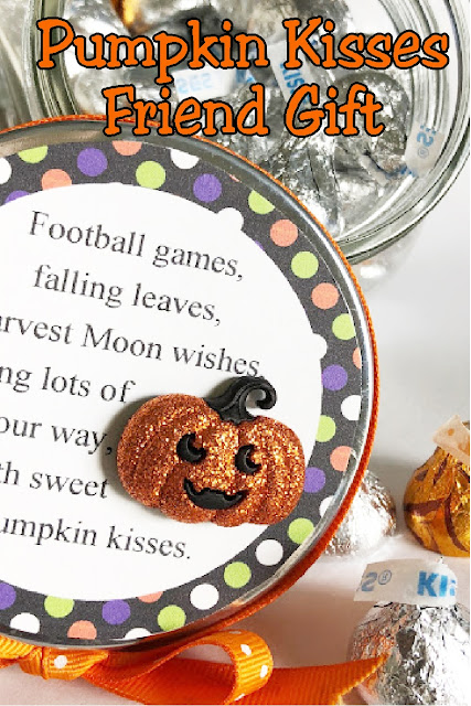 Send your love to your ministering friends, your kids, or your neighbors with this Pumpkin Kisses Halloween gift.  With a few treats and a little love, you'll be giving this candy jar in no time at all. #halloweengift #friendgift #giftforkids #pumpkinkiss #diypartymomblog