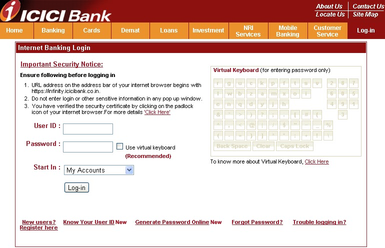how to reset password in icici bank for internet banking