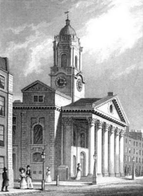 St George's Hanover Square from London and its   environs in the 19th century by TH Shepherd (1829)