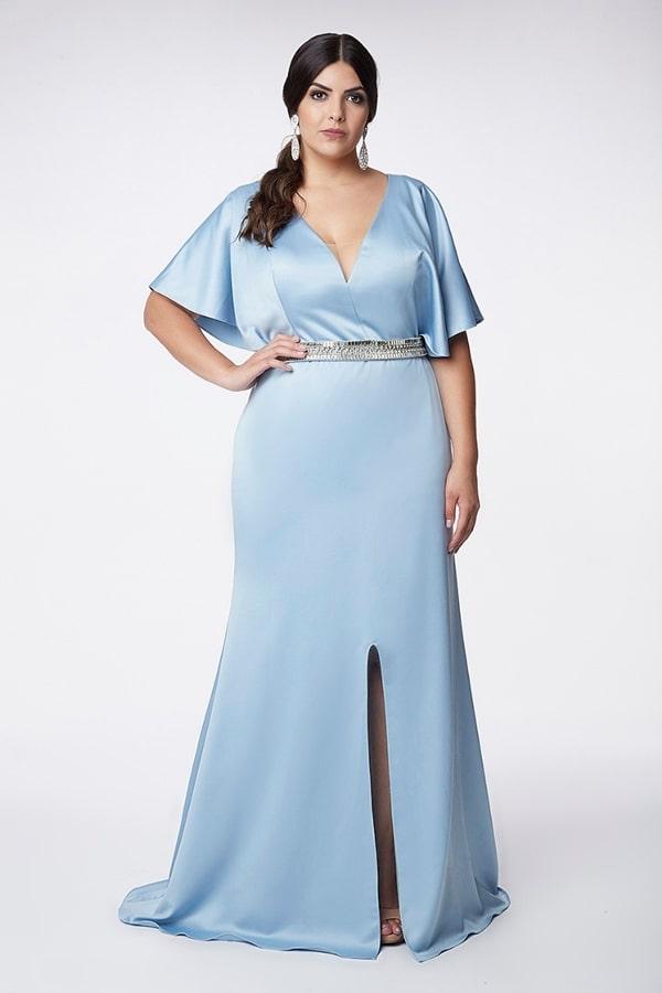 vestido longo azul claro para mãe dos noivos