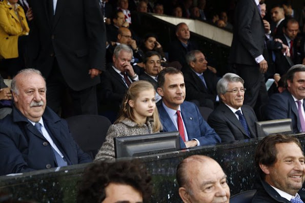 King Felipe and Princess Leonor watched Champions League semi final match at Vicente Calderon Stadium