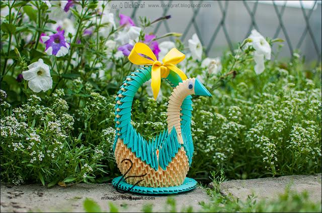 599. Łabędzi kosz z origami w zieleni / 3d origami green swan basket