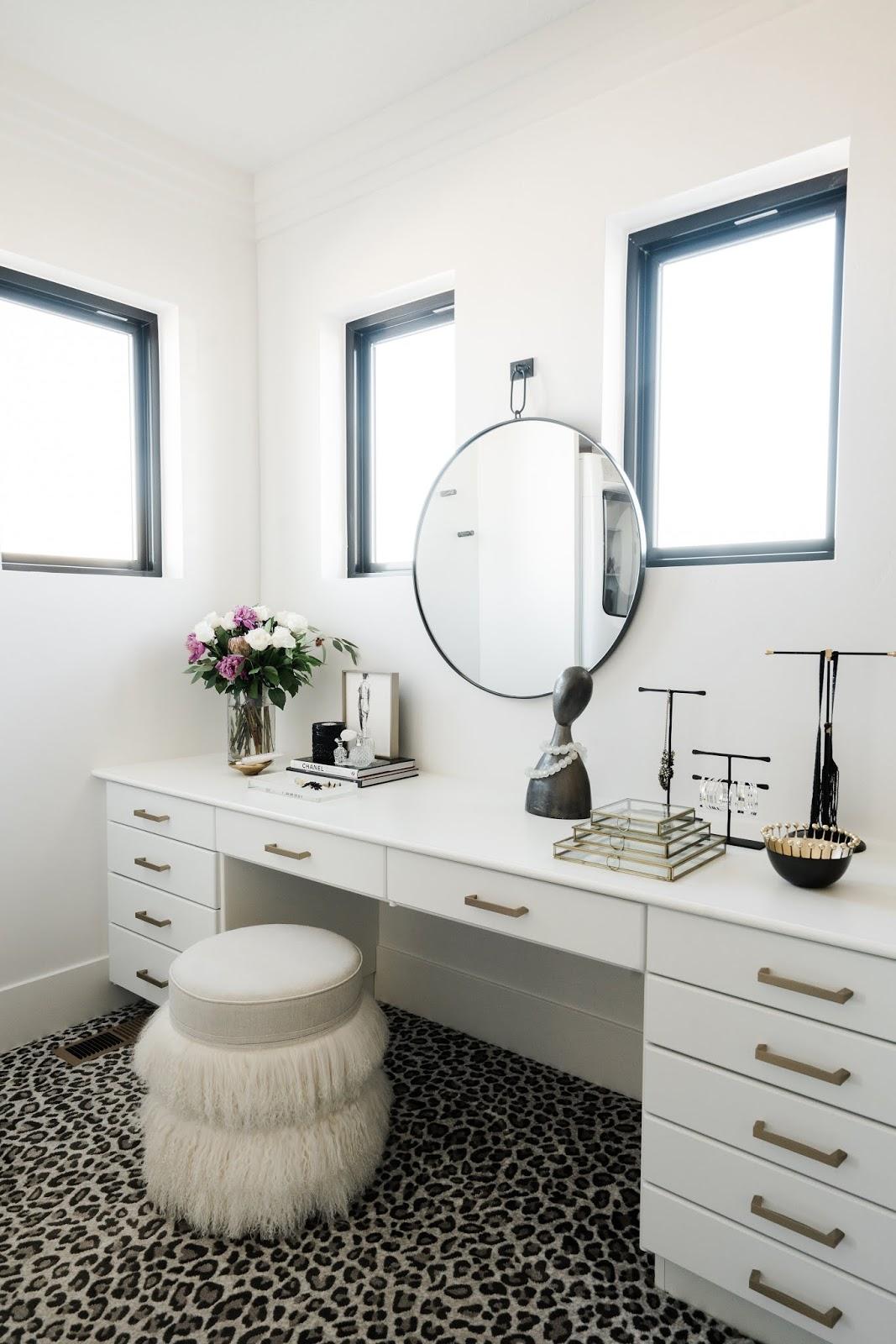 Vanity, Fur Pouf, Leopard Print Carpet