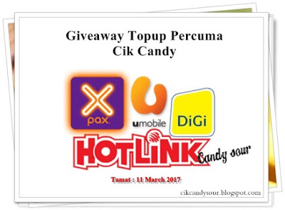http://cikcandysour.blogspot.my/2017/02/giveaway-topup-percuma-by-cik-candy.html