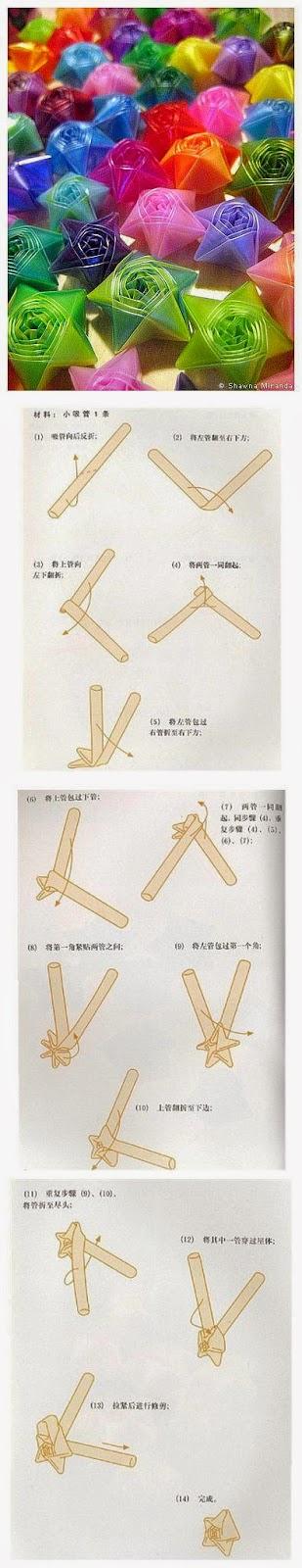 Tutorial origami steluta din paie