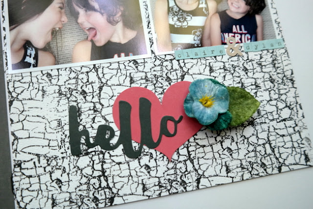 Mixed Media Scrapbook Layout with DIY Stamped Paper