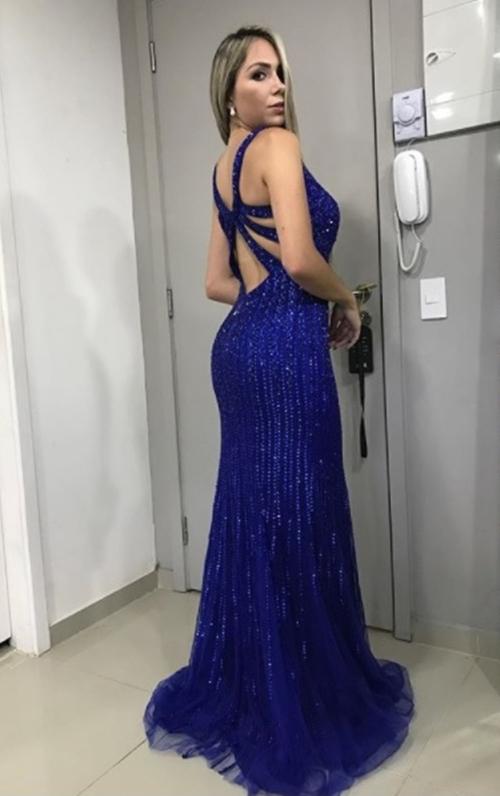 vestido de festa azul royal formatura