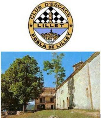 Santuario de Santa María de Falgás y escudo del Club Ajedrez Lillet