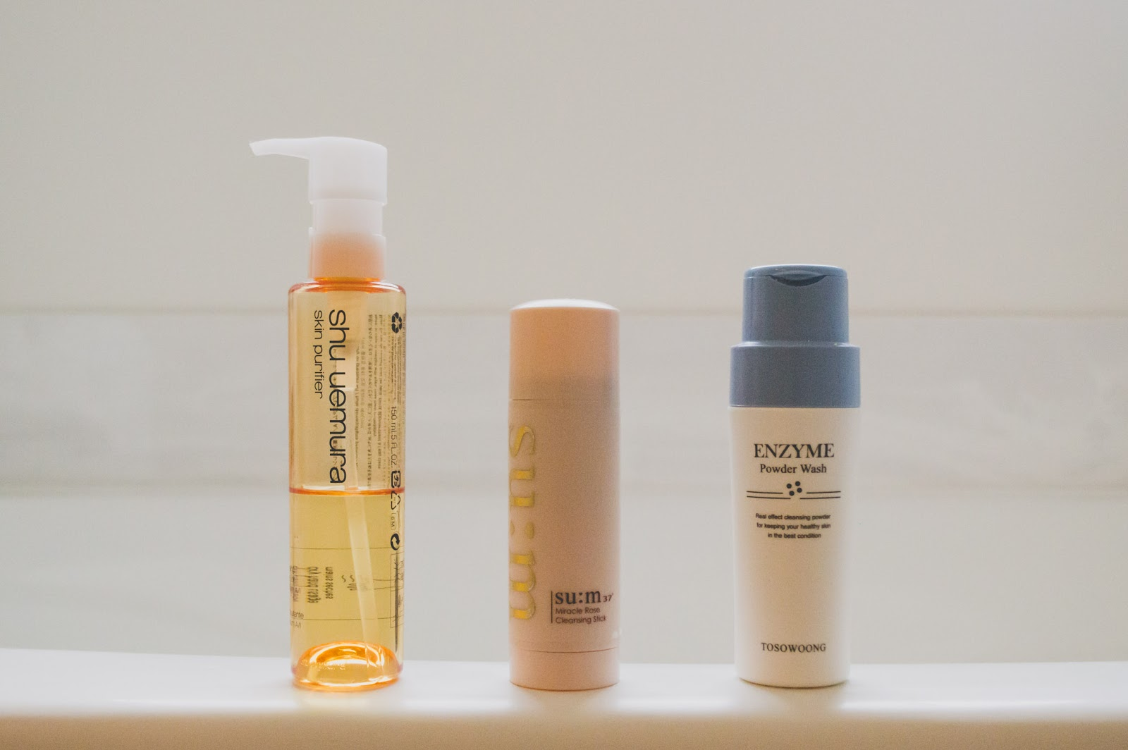 Facial Cleansers, Oil Cleanser, Shu Uemura Cleansing Beauty Oil Premium A/I, SU:M37 Miracle Rose Cleansing Stick, MRCS, Tosowoong Enzyme Powder Wash, pH 5.5