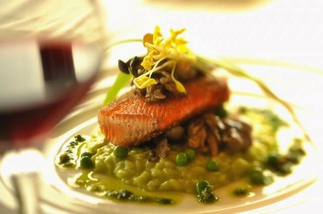 Salmon and English Pea Risotto with Spring Ramps- California Grill The Recipes Of Disney Ramp Pesto: 1 1/4 cups extra virgin olive oil 1/4 cup roughly chopped fresh whole ramps, root ends and tough tops removed and discarded 2 tablespoons grate